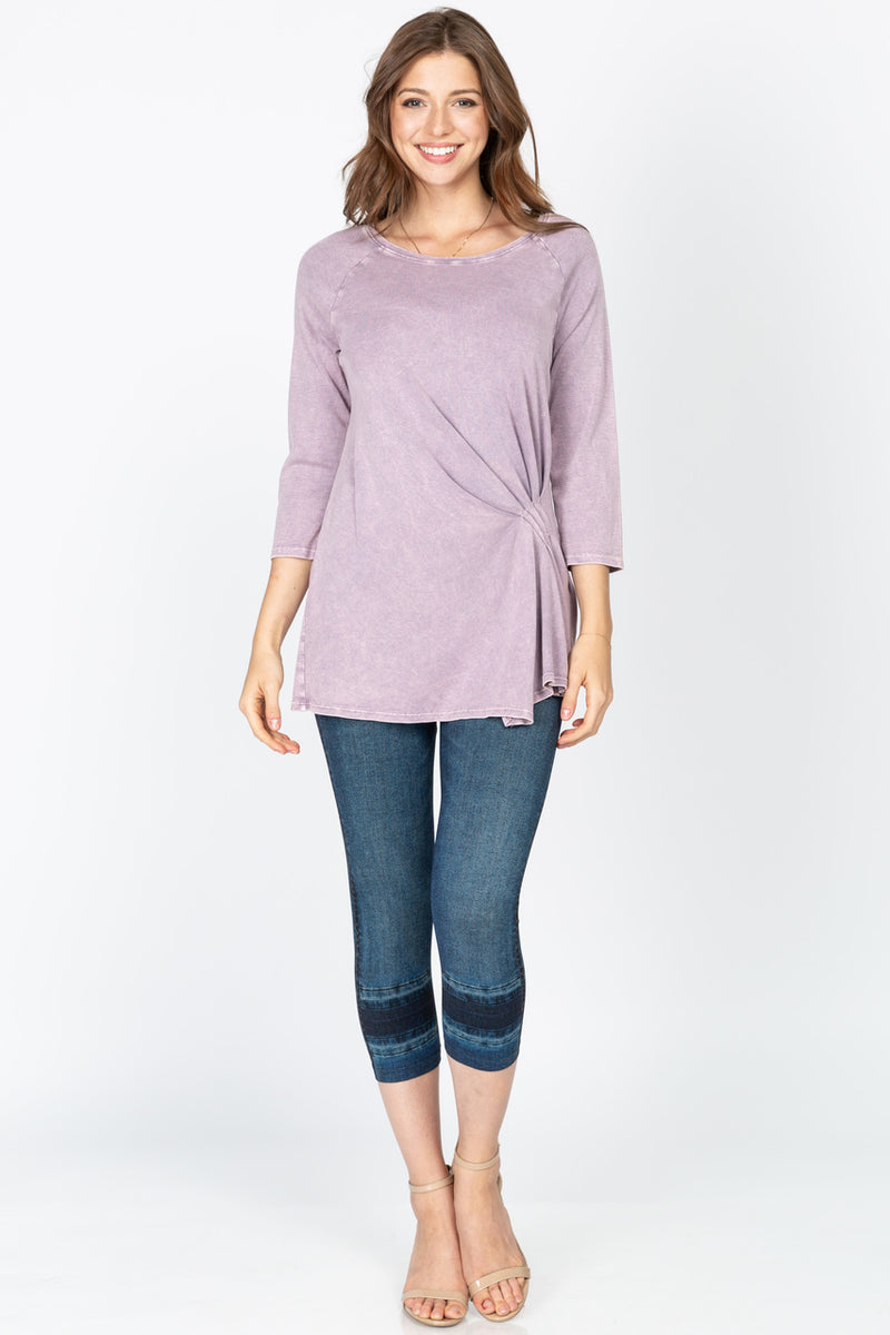 Round Neck Tunic with Drape Detail in Mulberry