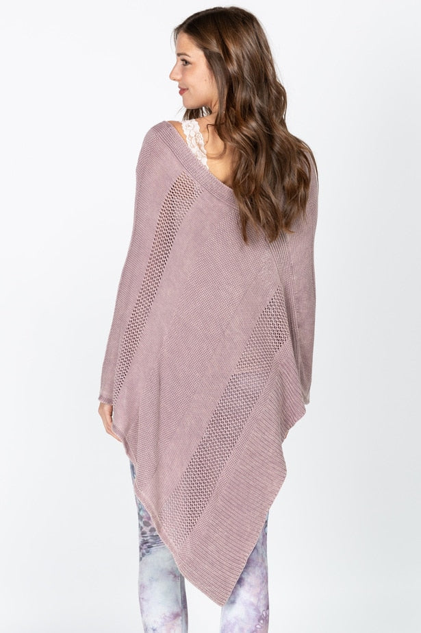 Sweater Poncho with Pointelle Detail in Mulberry