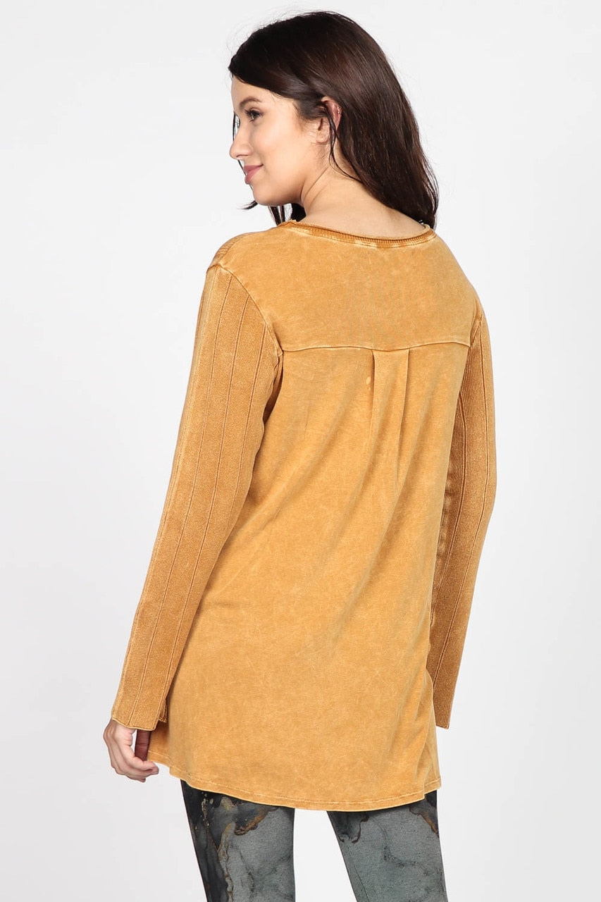 LAST CALL SIZE L | Mustard Mineral Wash Ribbed Long Sleeve Knit Top