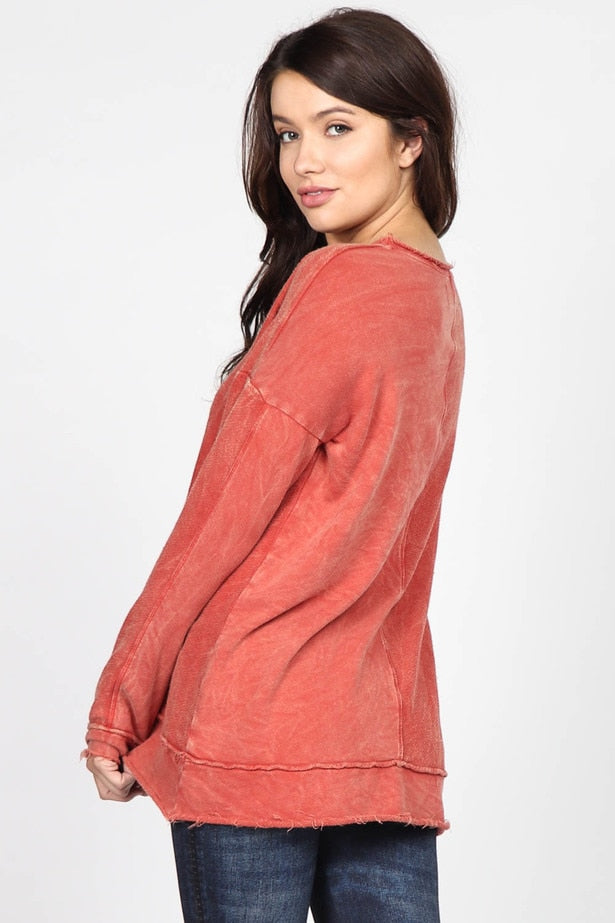 Mineral Wash Long Sleeve Terry Top in Brick