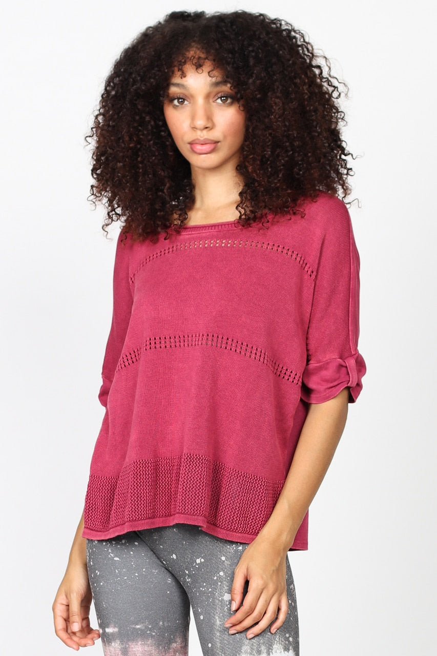 Light-weight Sweater Knit Top in Orchid