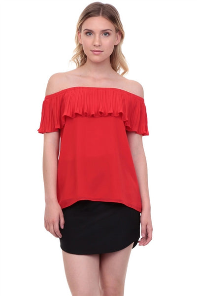 Off Shoulder Pleated Blouse