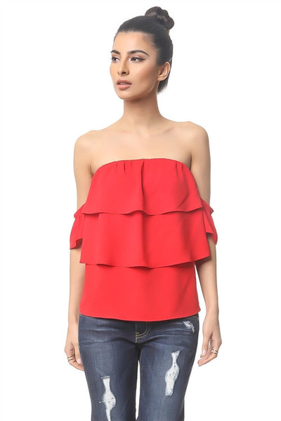 Off the Shoulder Top with Layered Ruffles in Red