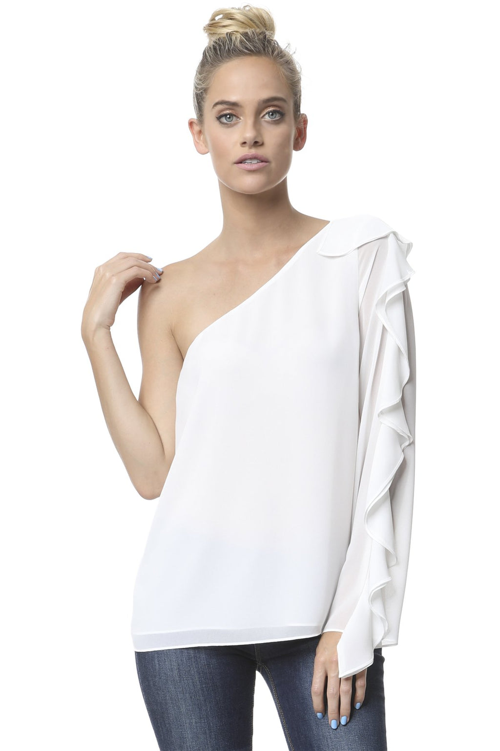 LAST CALL SIZE M | One Shoulder Ruffle Sleeve Top in Off-White