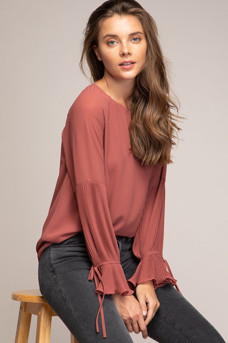 Pleated Long Bell Sleeve Blouse In Blush Red