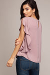 Scoop Neck Ruffle Sleeve Top