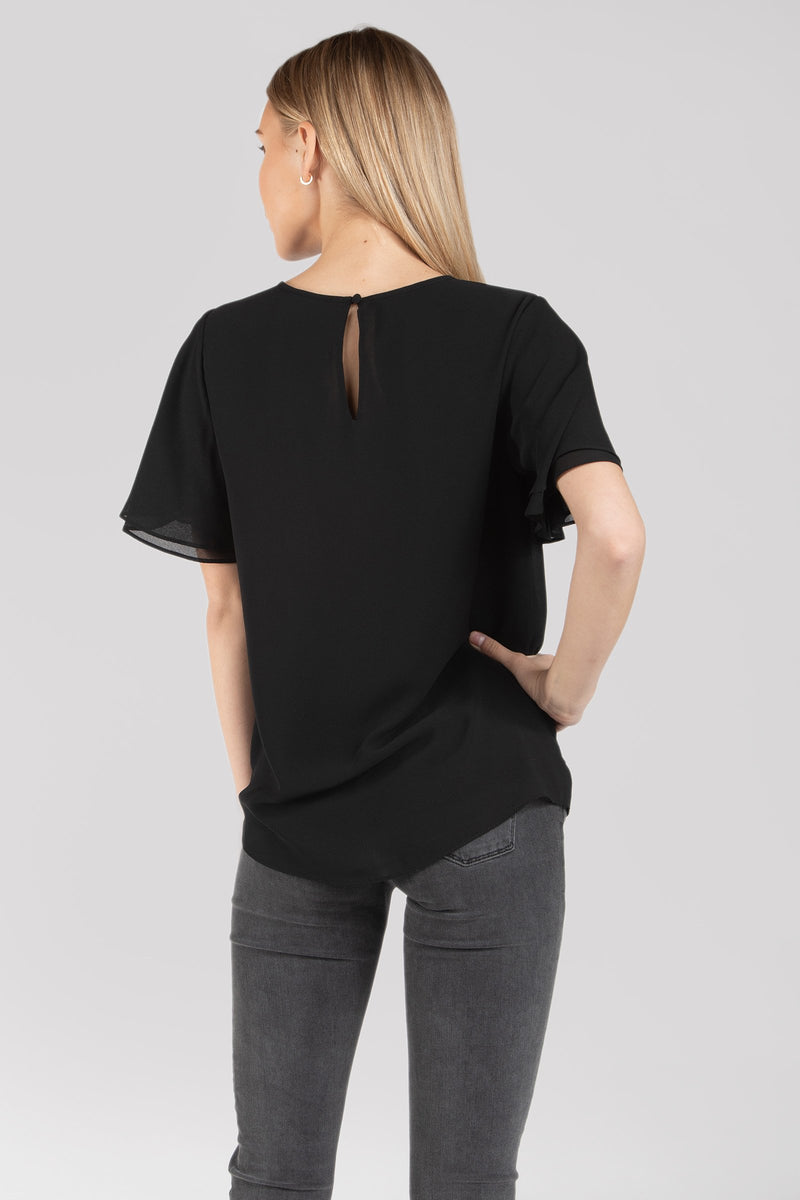 LAST CALL SIZE S | Short Flutter Sleeve Blouse with Keyhole Cutout in Black