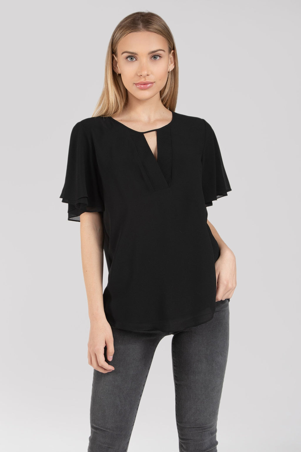 Short Flutter Sleeve Blouse with Keyhole Cutout in Black