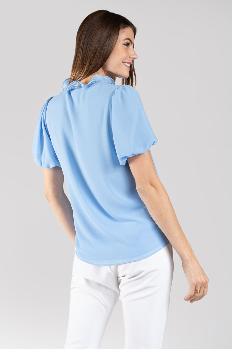 Ruffle Collar Blouse Short Sleeve Blouse in Pastel Blue