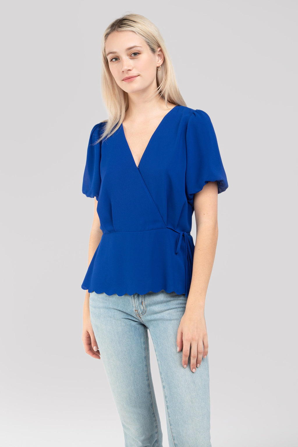 LAST CALL SIZE S | Short Sleeve Scalloped Hem Blouse in Sapphire Blue