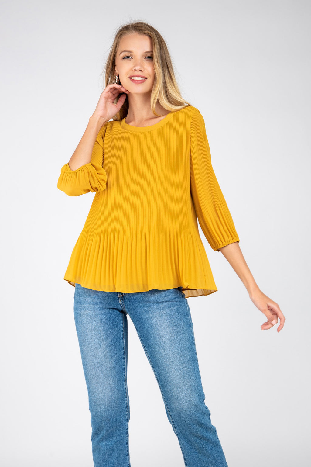 Pleated Blouse in Golden Glow
