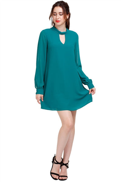 Keyhole Button Cuff Tunic Dress