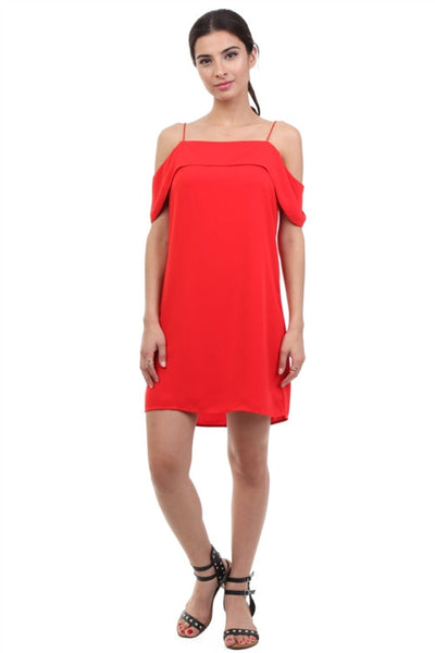 LAST CALL SIZE S | Off the Shoulder Shift Dress in Scarlet