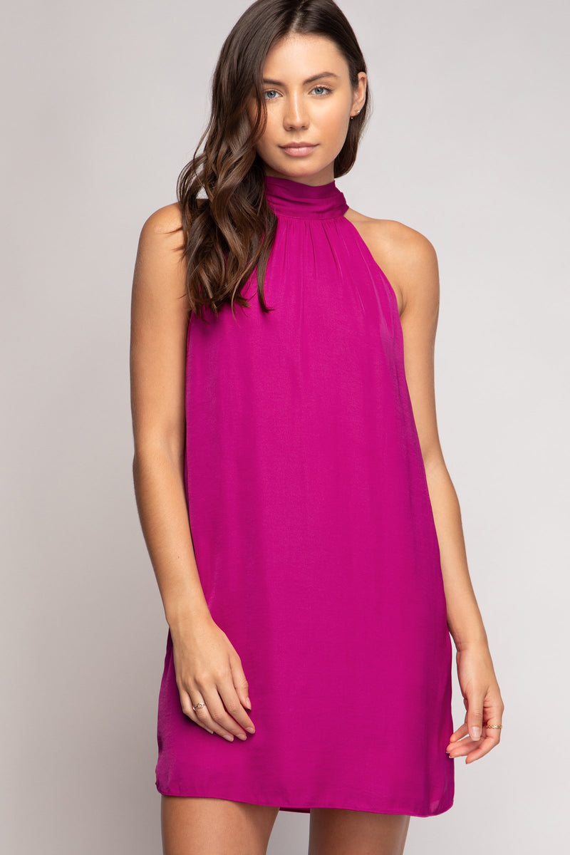 LAST CALL SIZE M | Halter Swing Dress in Berry