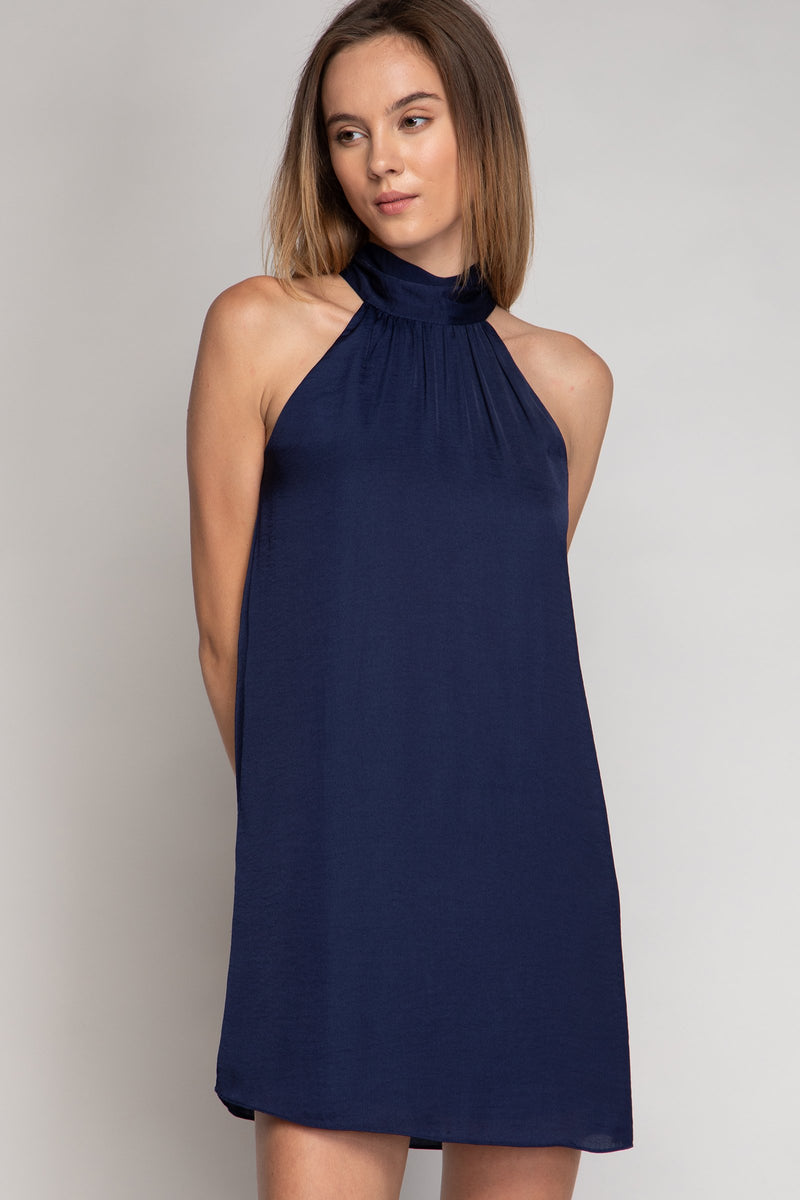 LAST CALL SIZE S | Halter Swing Dress in Navy