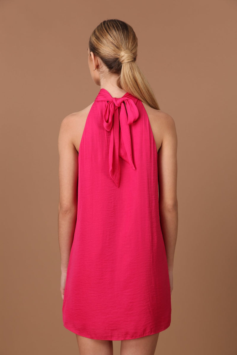 Satin Halter Neck Dress in Pink Berry