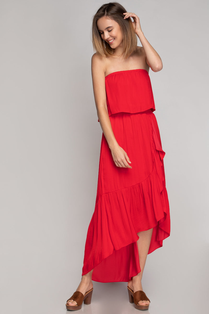 LAST CALL SIZE M | High Low Tiered Tube Dress in Red