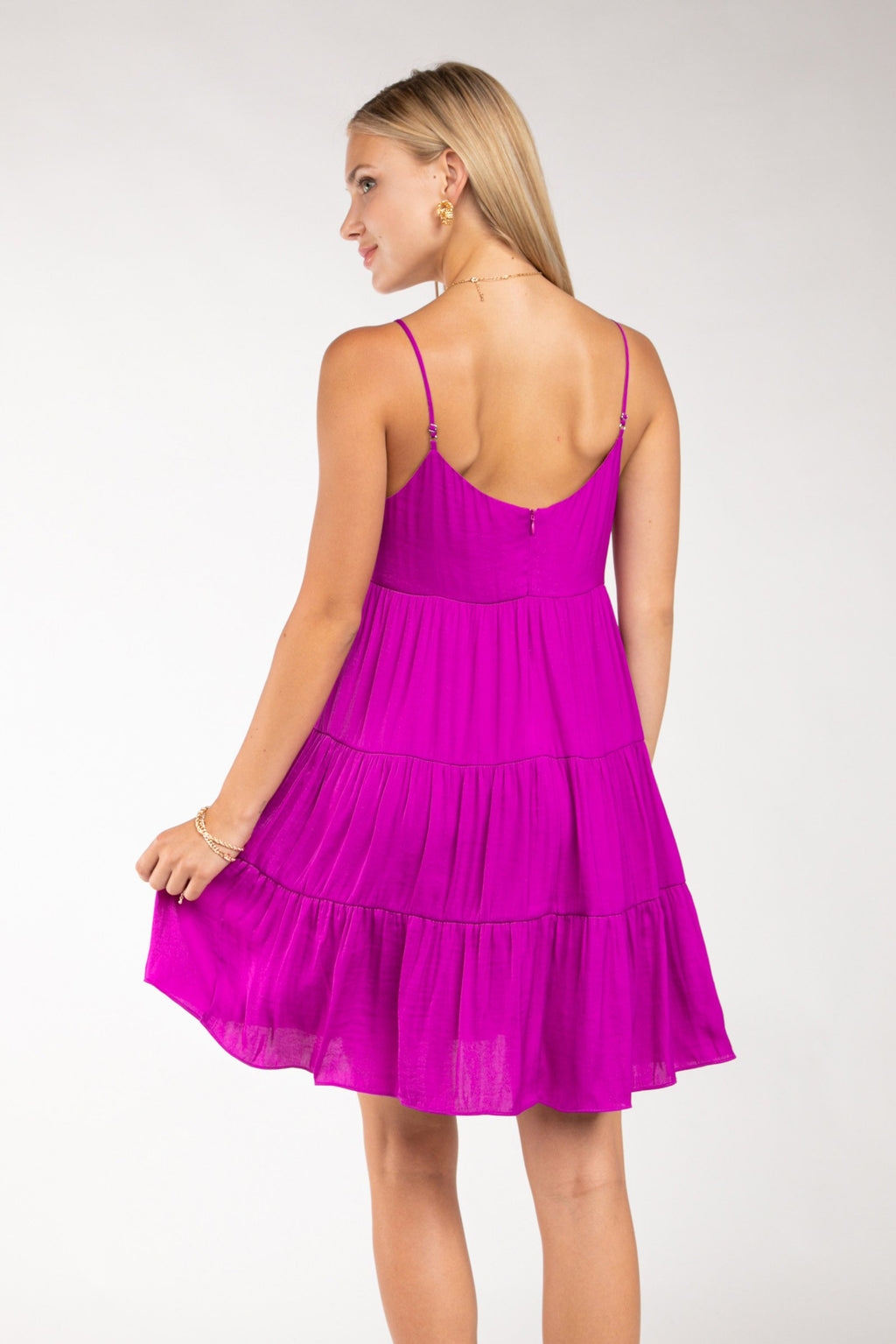 LAST CALL SIZE L | Tiered Cami Dress is Fuchsia