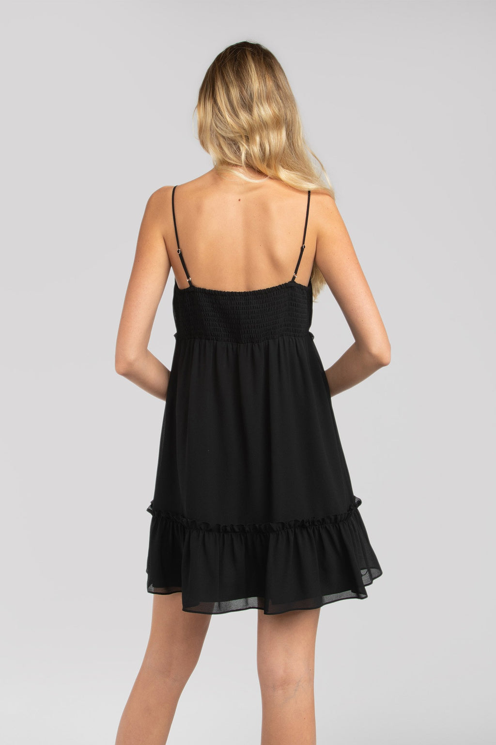 LAST CALL SIZE L | Ruffled Cami Dress in Black