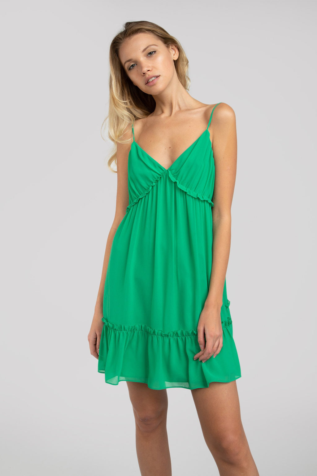 LAST CALL SIZE L | Ruffled Cami Dress in Jade Green