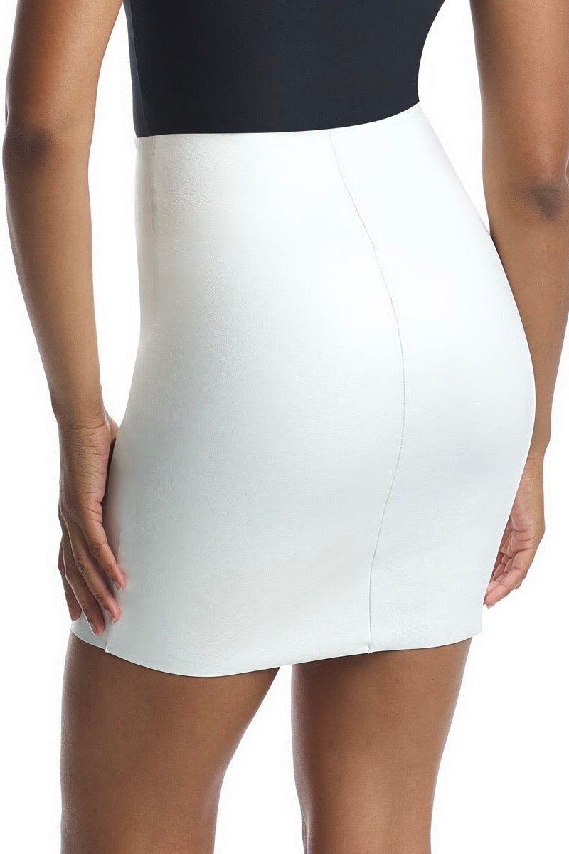 White Faux Leather Mini Skirt with Built-In Smoothing Shorts