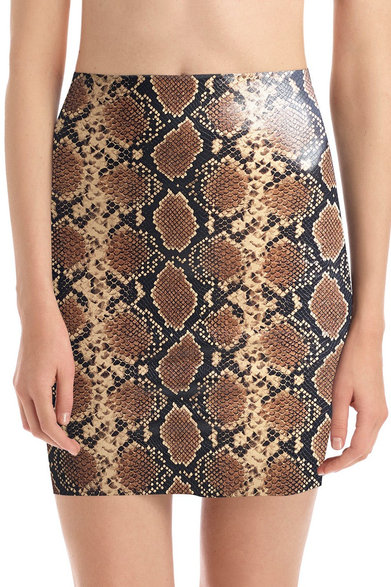 LAST CALL SIZE S | Faux Leather Mini Skirt with Built-In Smoothing Shorts in Snake Print
