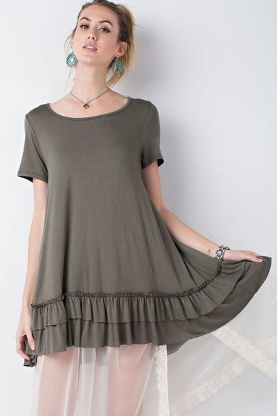 LAST CALL SIZE L | Ruffle Hem Tunic Dress in Olive