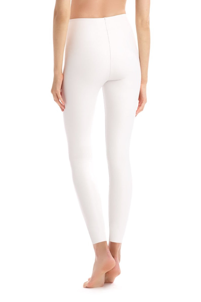 Faux Leather White Leggings Back
