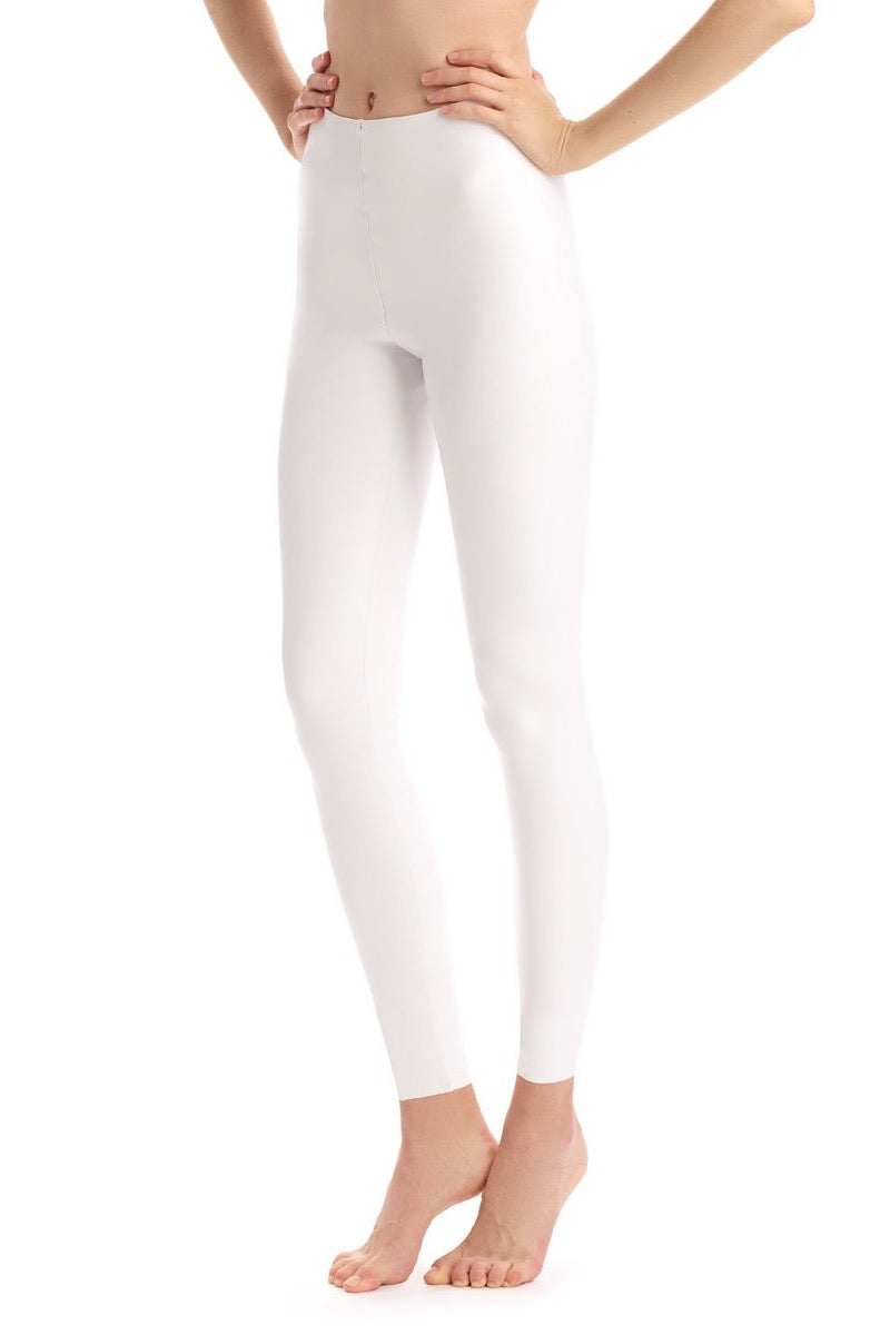 Faux Leather White Leggings Front