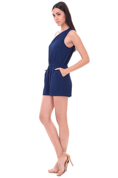 LAST CALL SIZE M | One Shoulder Navy Romper