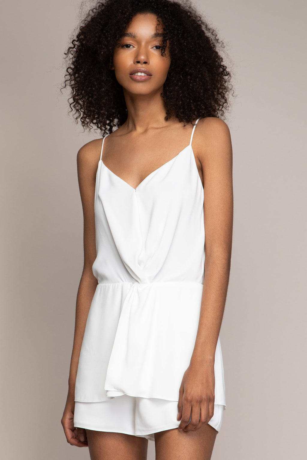 Spaghetti Strap Romper with Twist Front in Off White