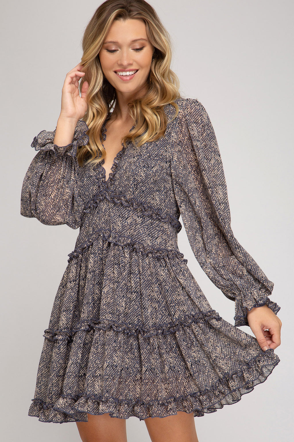 LAST CALL SIZE L | Long Sleeve Fit-n-Flare Snake Print Dress with Ruffle Details