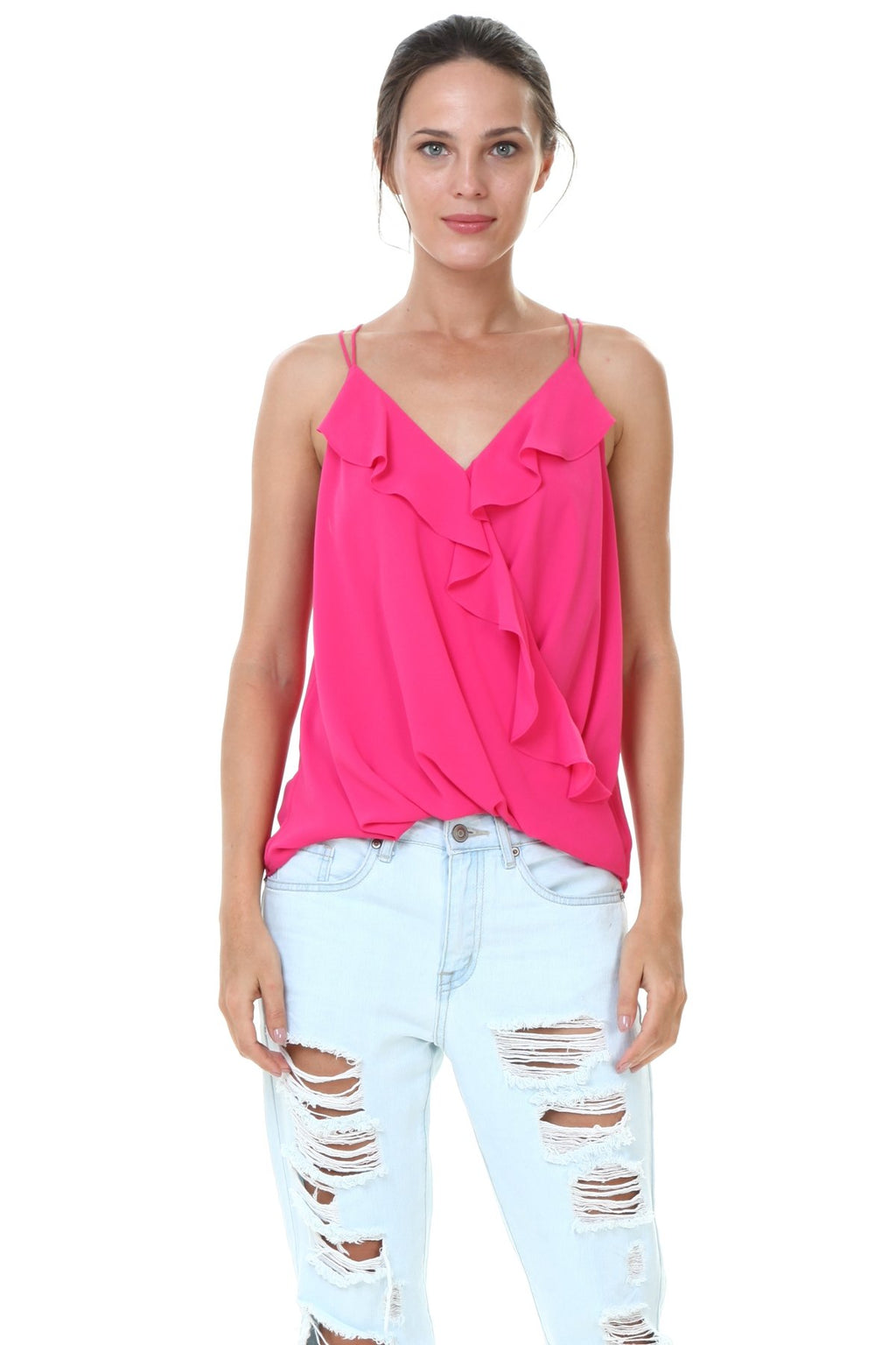 33b80ae2b8c8 Ruffle Front Wrap Top in New Pink