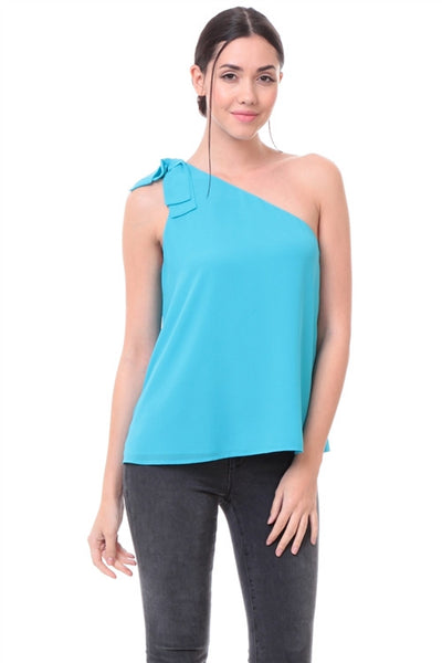 LAST CALL SIZE S | One Shoulder Bow Blouse in Pool Blue