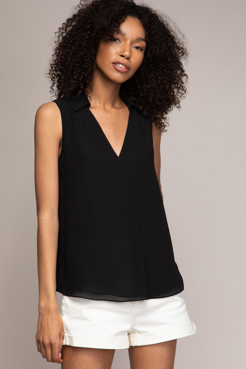 V-Neck Collared Top in Black