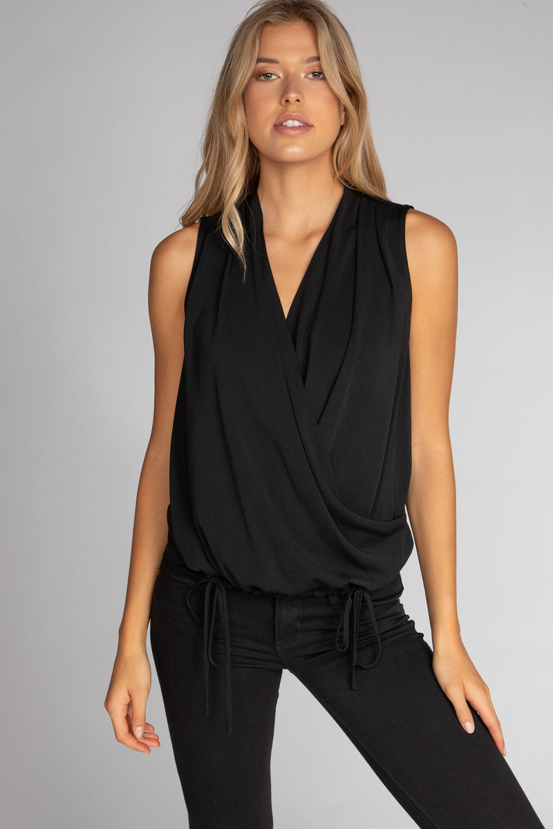 Draped Sleeveless Top with Tie Detail in Black