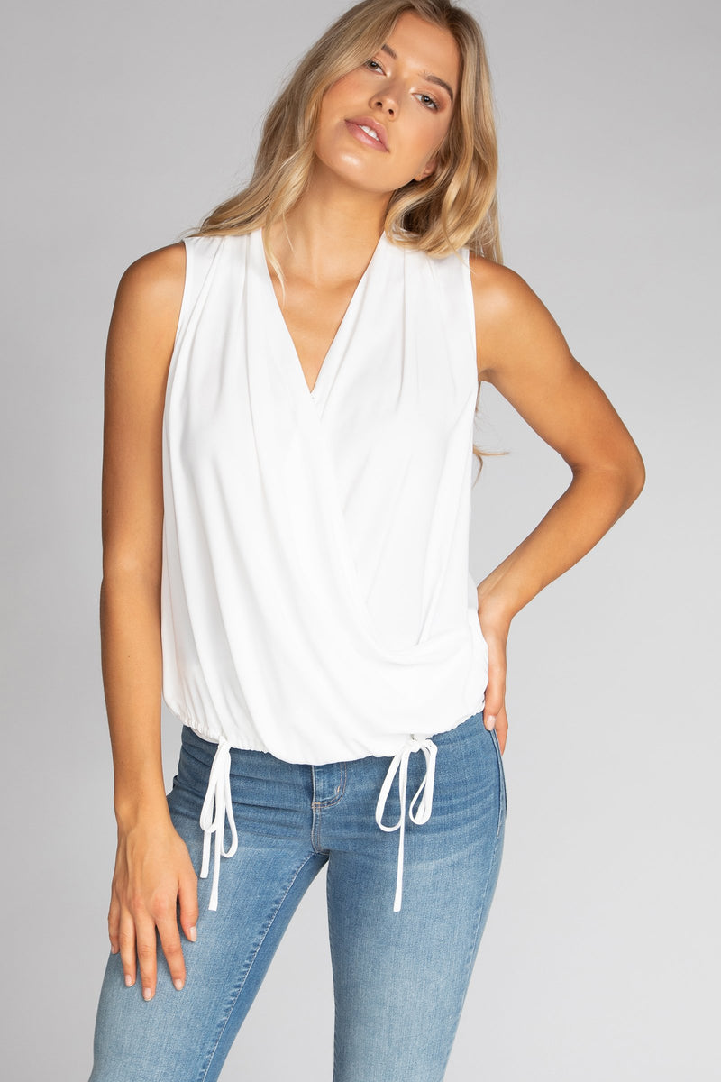 Draped Sleeveless Top with Tie Detail in Off White