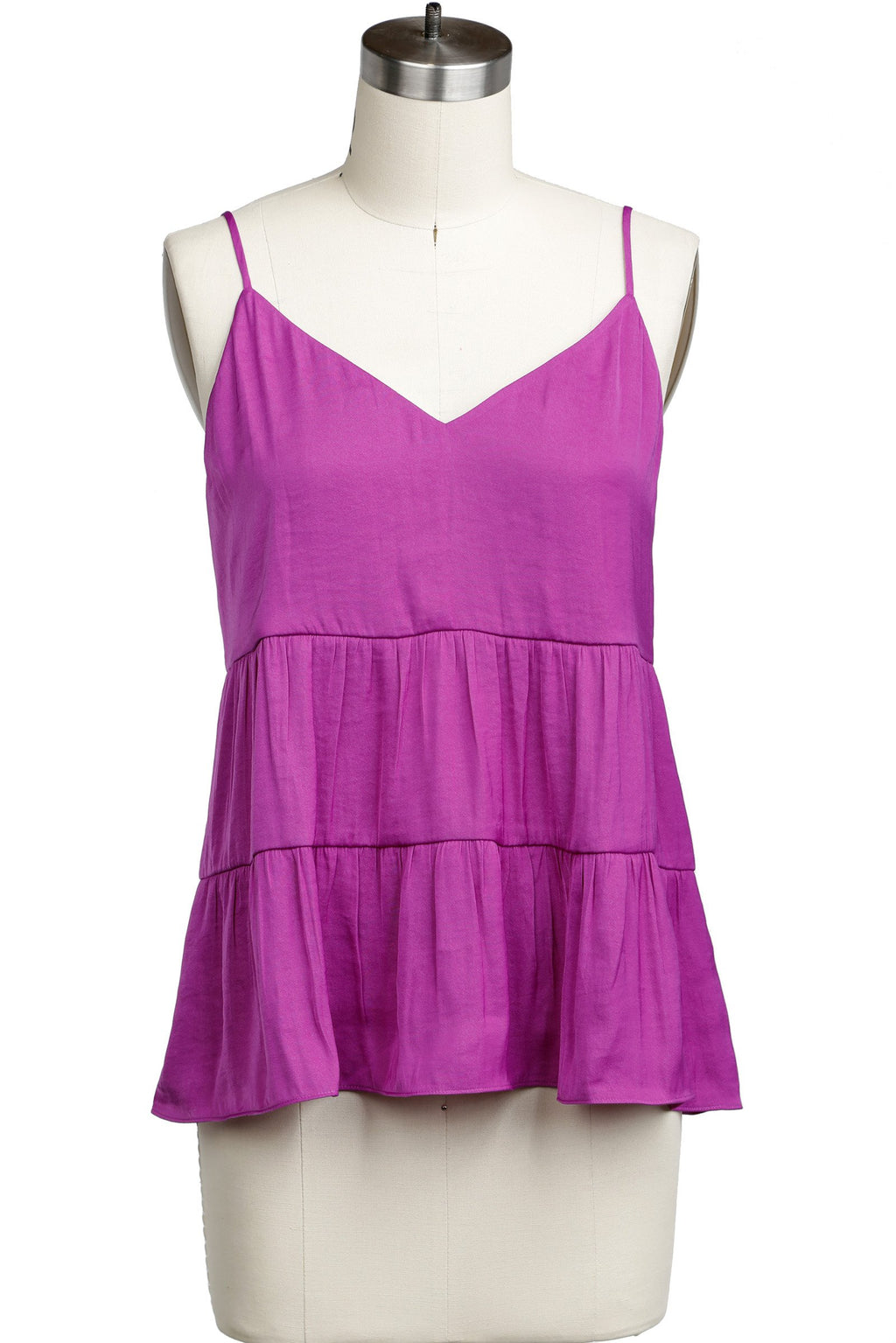 V-Neck Tiered Cami Top in Sapphire & Fuchsia