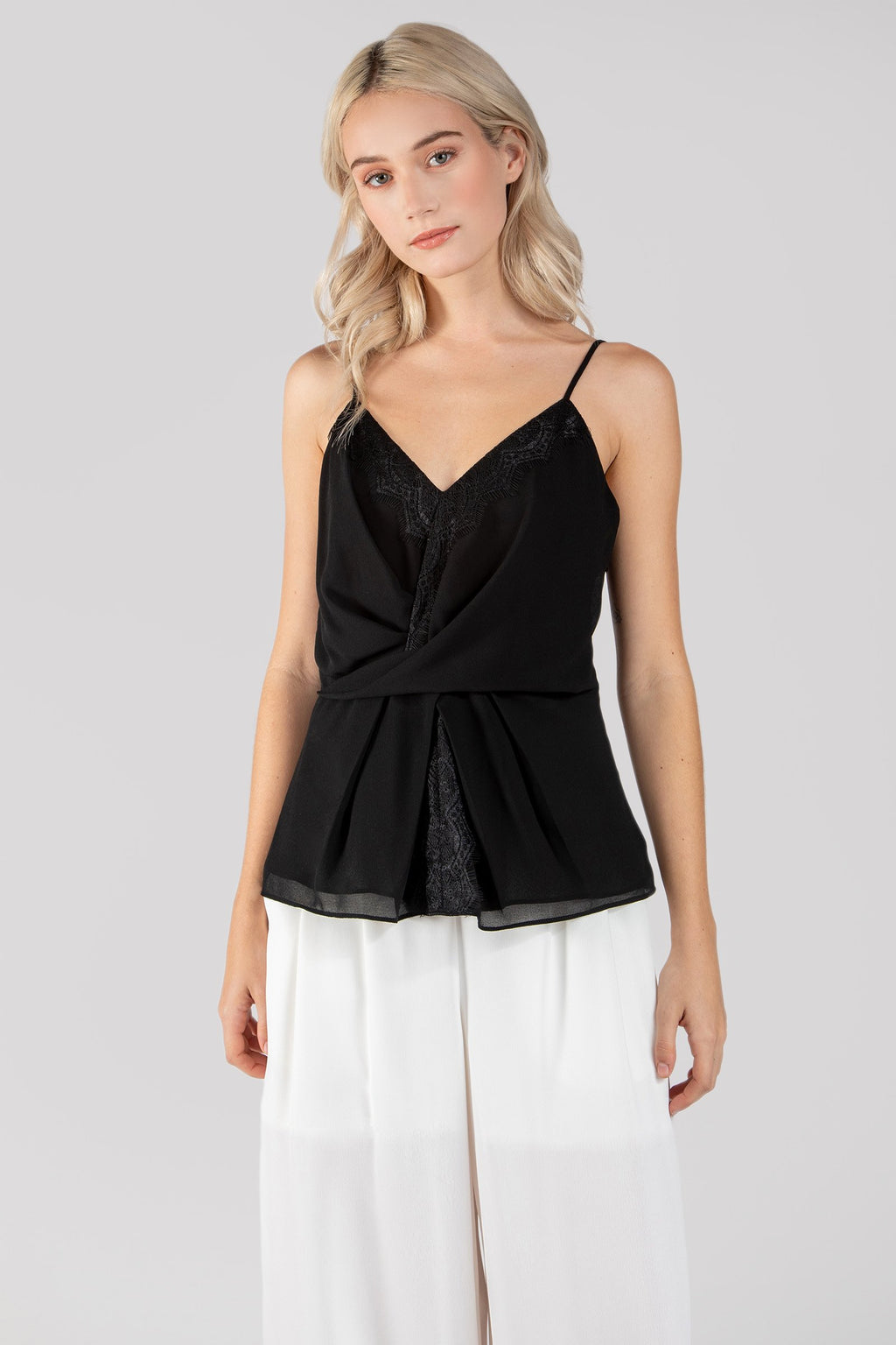 Black Front Twist Cami Top with Lace