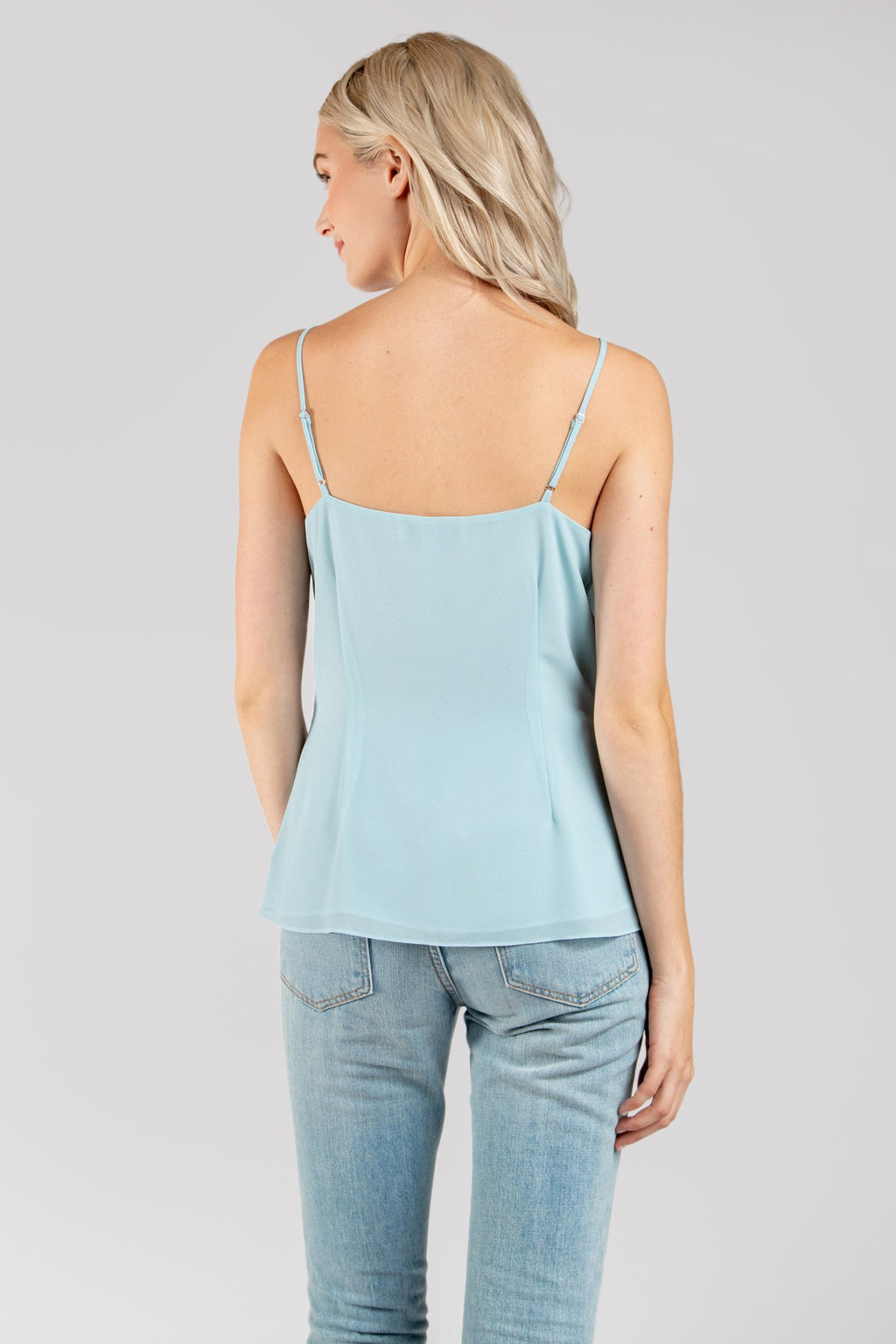 Cool Blue Front Twist Cami Top with Lace