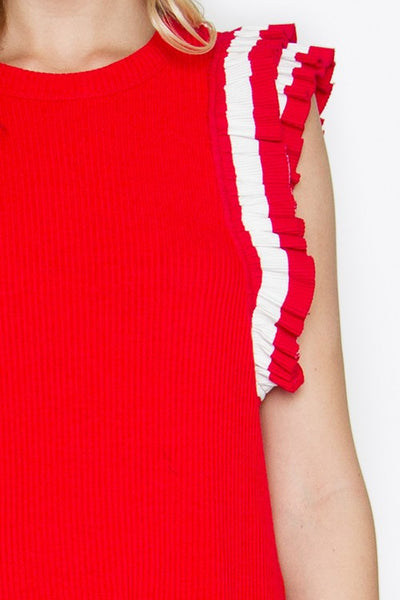 Knit Ruffle Dress w/Stripe Trim detail