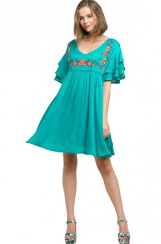 LAST CALL SIZE L | Floral Embroidered Short Sleeve Dress in Turquoise