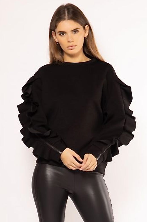 Long Zip-Up Ruffled Sleeves Sweater