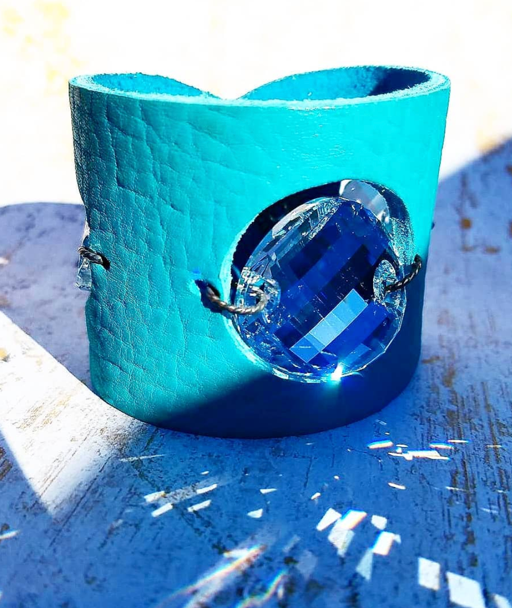 Teal Leather and Swarovski Cuff