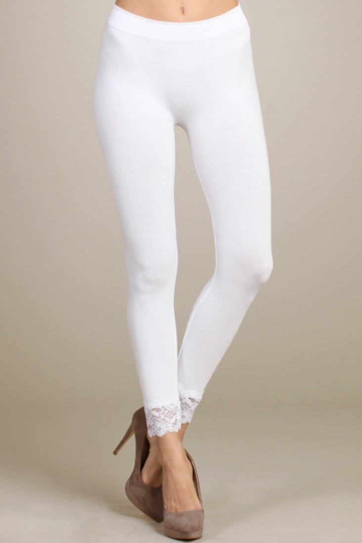 Lace Hem Leggings in White