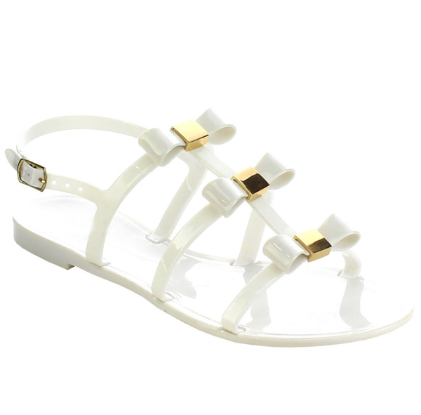 White Bow Slingback Sandals