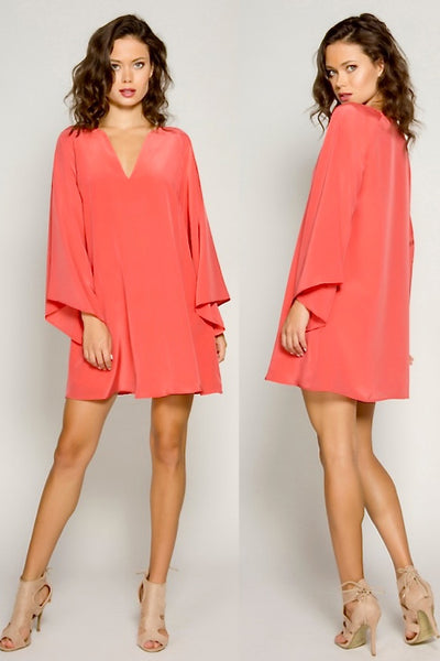 Coral Bell Sleeve Dress