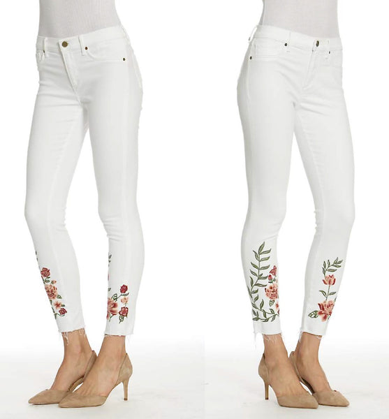 Embroidered White Deconstructed Jeans Side View