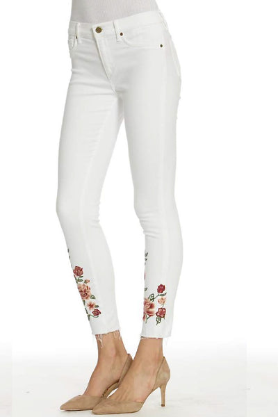 Embroidered White Deconstructed Jeans