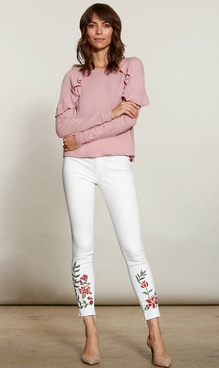 Embroidered White Deconstructed Jeans Full View Outfit